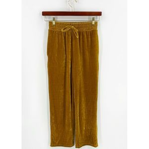 Elodie Velour Pants Size XS Gold Solid NEW